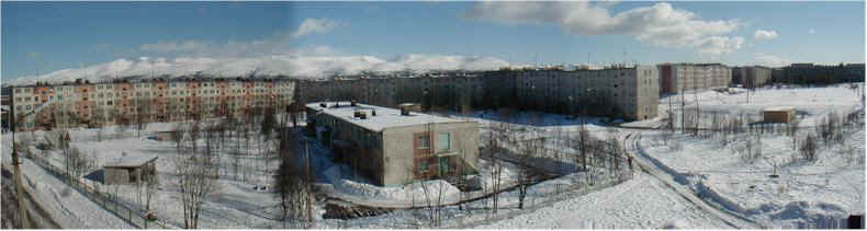 View across the Apatity Apartment Blocks towards the Arctic Khiberny Mountains
