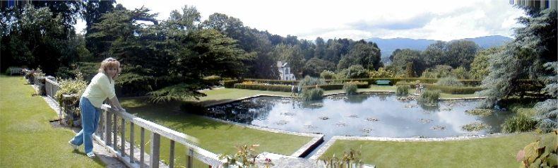 Bodnant Gardens Panorama - Looking down from the Croquet Terrace to the Main Lily Pond and Italian Style Terraces - With Valentina Probert - 13th July 2002