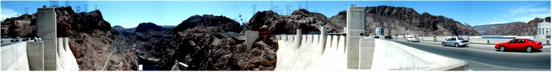 Panoramic View from the Arizona Side of the Hoover Dam. Colorada River - Nevada-Arizona Border - May 2002