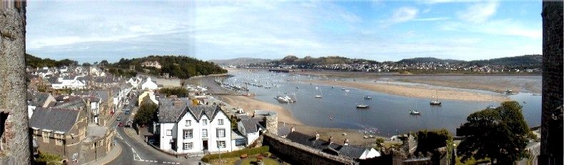 View from the battlements of Conway Castle towards the town and river estuary - 13th July 2002