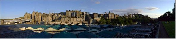 View south from Princes Street, Edinburgh - with the roof of Waverly Station.