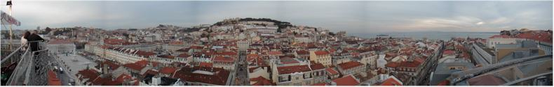 Panorama from the Elevadore above the Old City of Lisbon