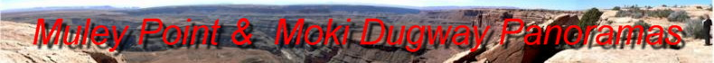 Click here for Panoramas from the Awesome Muley Point overlooking the San Juan Goosenecks as well as Monument Valley. Also Views from the Moki Dugway SwitchBacks from Cedar Mesa to Mexican Hat.