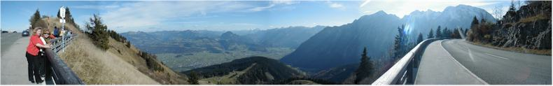 View with Valentina and Larissa from the summit of the RossfeldStrasse - German-Austrian Border - Bavaria