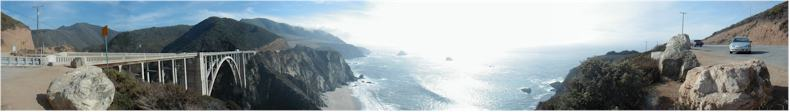 Panoramic View from Bixby Bridge - Built 1932 - Route 1 - Pacific Ocean Road - California