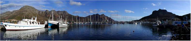 View from the Hout Bay Marina Wharf and Fishing Harbour