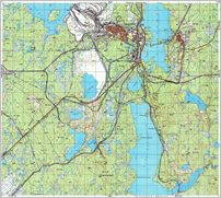 Map 1 - ќленегорск - Olenogorsk - Click to enlarge this map to Full Size - File size is typically around 4Mbytes so please be patient!
